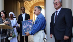 The Mayor of Dakar-Plateau, Republic of Senegal Alioune Ndoye receives gifts during the Welcome Reception for the Sister City of Dakar-Plateau in the Honor of his Excellency Alione Ndoye, Mayor of Daker-Plateau, Republic of Senegal and Esteemed Delegation at the Pasadena City Hall Courtyard, June 18, 2019.