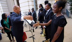 Pasadena Councilmember John J. Kennedy meets the Inner City Youth Orchestra of Los Angeles.