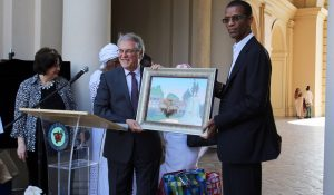 The Mayor of Pasadena Terry Tornek and His Excellency Mayor of Dakar-Plateau, Republic of Senegal Alioune Ndoye exchange gifts during the Welcome Reception for the Sister City of Dakar-Plateau in the Honor of his Excellency Alione Ndoye, Mayor of Daker-Plateau, Republic of Senegal and Esteemed Delegation at the Pasadena City Hall Courtyard, June 18, 2019.
